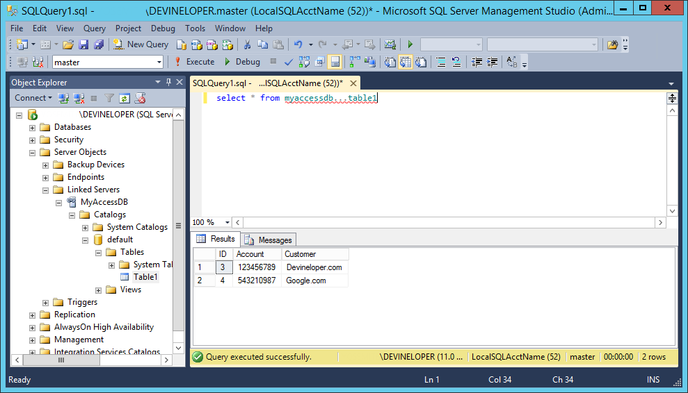 Screenshot of SQL Server Management Studio and a Linked Server